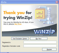 Win zip dialog box, buy button on the right